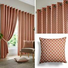 Orange Eyelet Curtains Lined Geometric Jacquard Ready Made Ring Top Pairs