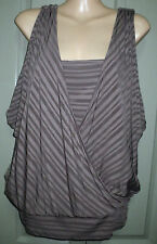 As New Guess S Brown Striped Split Sleeve Bat wing V Neck Shelf Cami Bra Top