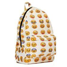 Unisex Womens Girl Canvas Emoji Emoticon Backpack Rucksack School Nursery UK