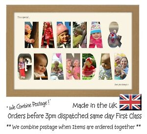 Nanna and Grandad Photo Frame Letter Word Name Frame Single Mounted 1360D