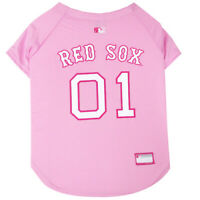 Boston Red Sox MLB Pets First Officially Licensed Dog Jersey, Pink Sizes XS-L