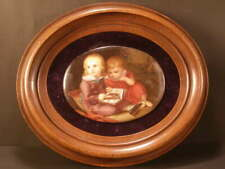 1800's Walnut Frame Hand Painted Porcelain Kpm Portrait Plaque Children Painting