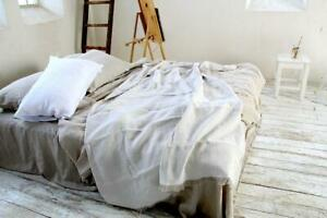 Thick 100% LINEN throw blanket heavy weight natural color flax softened coverlet
