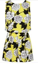 Miss Selfridge Petites Yellow Floral Playsuit - Size 6 - Excellent Condition