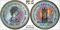 1977 CANADA JUBILEE SILVER $1 DOLLAR PCGS SP67 Rainbow Toned Coin In High Grade