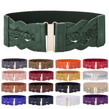 Womens Elastic Waist Belt Buckle Wide Stretch Dress Waistband PLUS SIZE S-4XL
