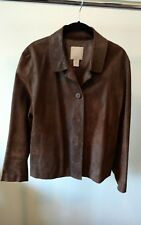 J. Jill Women's Petite M Brown Distressed Leather Button Jacket with Pockets
