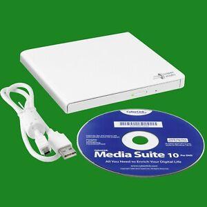 Portable White USB DVD/CD RW Drive Reader Writer Burner, Notebook Laptop PC MAC
