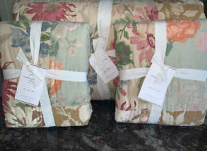 New~Pottery Barn Carolina Floral Patchwork Reversible Quilt~KING + 2 Shams