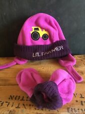 Hot Shot Toddler 2T-4T Girls Winter Hat Mittens Set Li'l Farmer Purple Ear Flaps
