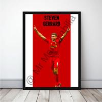Steven Gerrard Reds in Liverpool Football Gift Framed Cartoon Poster