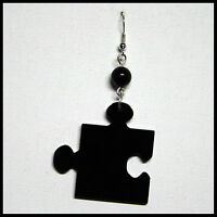 Orecchino Ciondolo Puzzle Tassello Donna Plexiglass Pendente Nero 4 cm