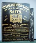 Early Tin Litho Advertising Sign, Evan & Watson Fire Proof Safes, c. 1890, Phila