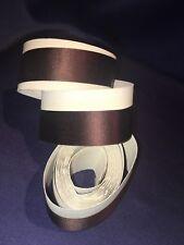 "Antique Brown Silk Satin Grosgrain Ribbon Original Paper 1"" x 3 yds"