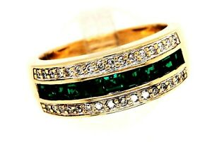 Emerald & diamond Dress Ring 9ct Yellow Gold Fine Wedding Jewellery Band Size O