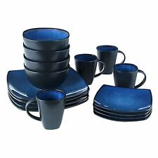 16 Piece Square Reactive Glaze Dinnerware Set Dinner Blue Cup Dishes Kitchen New