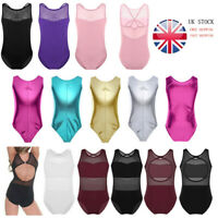 UK Kids Girls Gymnastics Ballet Dance Leotard Bodysuit Athletic Jumpsuit Unitard