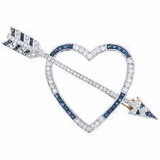 0.55 Ctw Heart & Arrow Brooch Pin 18K Two-Tone Blue Sapphire 0.60 Ctw & Diamond