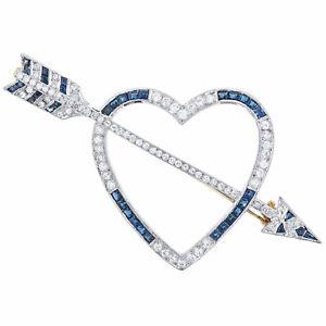 18K Two-Tone Blue Sapphire 0.60 Ctw & Diamond 0.55 Ctw Heart & Arrow Brooch Pin