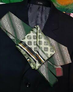 """Men's Hand Rolled Hem Pocket Square. 10"""" X 10"""", Green Tones, Art Deco"""