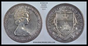 1971 BAHAMAS 5 DOLLARS SILVER LAVENDER TONED COIN ! BEAUTIFUL !