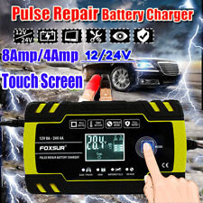 12/24V Automatic Smart Car Battery Charger LCD Display Auto Pulse Repair AGM GEL