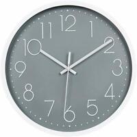 "12"" 30cm Fashion Wall Clock Black Large Digital Silent No Ticking Gray US"