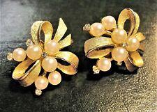 Vintage Crown Trifari ~ Clip EARRINGS Pearls Rhinestones ~ Gold Tone Bow Ribbon