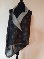 AUTHENTIC LOUIS VUITTON Black/Gray Monogram Logo Cashmere Silk Scarf Shawl Wrap
