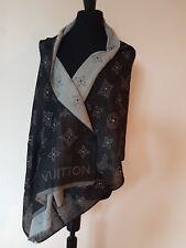 AUTHENTIC LOUIS VUITTON Black/Gray Monogram Logo 100% Cashmere Scarf Shawl Wrap