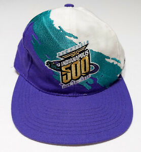Vintage LOGO ATHLETIC 1996 Indianapolis 500 Racing Snapback Hat 1990s Splash