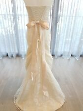 Designer A-Line Ivory French Lace Wedding Dress size 6-10