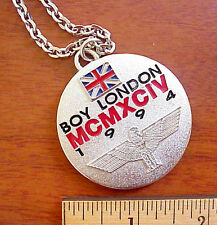 BOY LONDON CLOTHING EAGLE LOGO PEWTER TONE UK BRITISH FLAG NECKLACE/PENDANT.