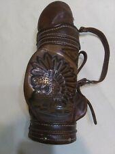 """Vintage Leather Gulf Bag Liqouer Bottle Holder 16x7x4"""" Tramite 80109 Used"""