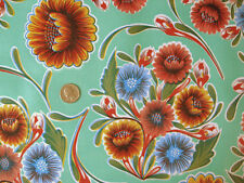 AQUA GREEN BLOOM MEXICAN FIESTA KITCHEN PATIO OILCLOTH VINYL TABLECLOTH 48x48