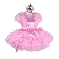 Masseanfertigung-Dienstmaedchen pink  Kleid Zofen  Satin Abschließbare [G1988]