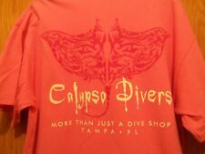 CALYPSO DIVERS pink graphic Dive shop Tampa FL L t shirt stingray