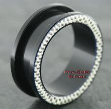 Kunststoff Piercing Ohr BIG Tunnel Black Carbon Silver UV verschiedene Größen