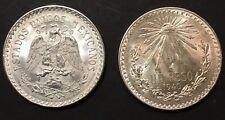 Lot of 2 Silver Coins 1940  Un Peso   AU/BU
