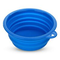 Bowl Feeder Foldable Silicone Blue for Dog Cat Pet T4V5