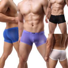 Para Hombre Ropa Interior Bóxer Calzoncillos Malla Transparente Calzoncillos Pene Bolsa Gay Pantalones Cortos Bragas