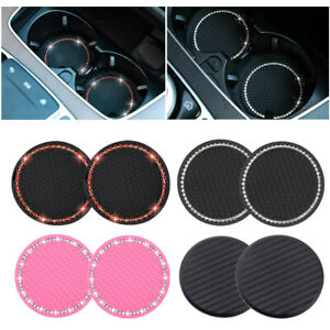 2x Car Coasters for Cup Holders Bling Rhinestone Accessories Cup Holder Pad Mats