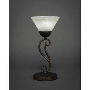 "Toltec Lighting Olde Iron Mini Table Lamp, 7"" Gold Ice Glass - 44-BRZ-7145"