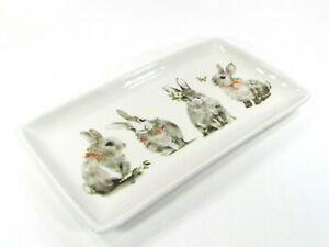 """NEW Pier 1 Imports BUNNY PALS 14"""" Platter Treat Tray Rabbit Flower Butterfly"""