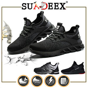 Mens Workout Labor Sneakers Steel Toe Walking Comfort Work Safety Hiking Shoes