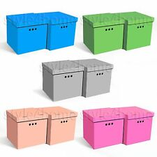 STYLISH 2pcs Decorative Storage BOXES IKEA Home Office WARDROBE Organiser CUBE!  sc 1 st  eBay & Lidded Cardboard Home Storage Boxes | eBay