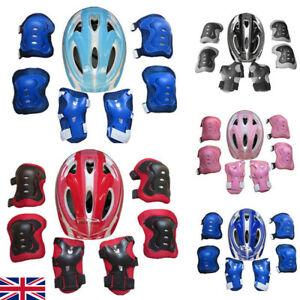 7Pcs Set Boys & Girls Kids Skate Cycling Bike Safety Helmet Knee Elbow Pad UK