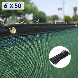 6'x50' Green Fence Privacy Screen, Backyard Shade Mesh Tarp Garden Windscreen