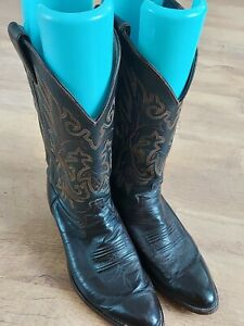 JUSTIN Comb Last Leather Cowboy Boots UK 7.5 US 8D Made in USA