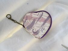 "Vera Wang Princess Wallet w Chain Purple Zip Heart Shaped Small 4"". x 4"""